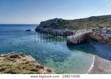 Little Bay With Clear Ocean Water On Kefalonia, Greece