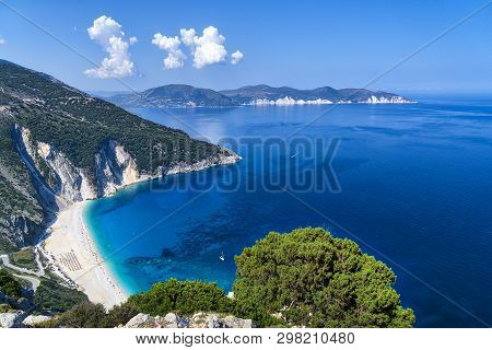 Aerial View Of The Famous Myrtos Beach On Kefalonia, Greece