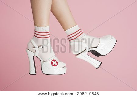 Nurse. Role Playing Games. Clothes From The Sex Shop. Seductive Doctor. Legs Of A Girl In White Shoe