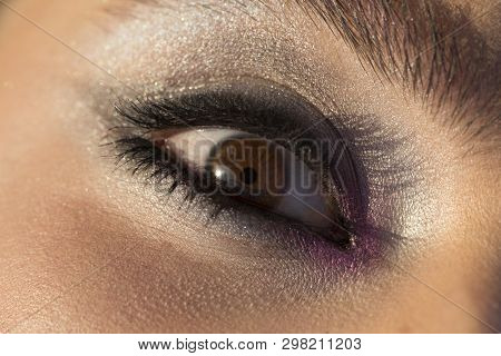 Eye Woman Look, Makeup For Young Women. Brown Eye With Purple Makeup. Black Mascara, Sparckle Eye Sh