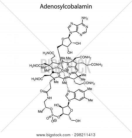 Skeletal Formula Of Adenosylcobalamin. Vitamin B 12 Chemical Molecule.