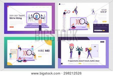 Job Seekers Searching Work Website Landing Page Templates Set. People Hiring Vocation In Internet, W