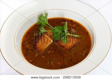 kidney soup served with croutons and parsley sprigs