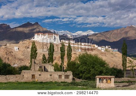 Stakna gompa temple buddhist monastery with Himalaya mountains at background in Ladakh, Jammu and Kashmir, India.