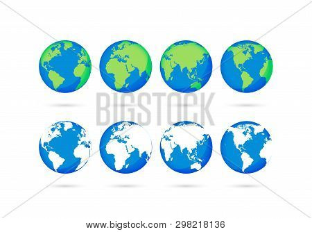 Big Collection Earth Globes. Globe And Earth Icons. World Map. Planet. Vector Illustration.