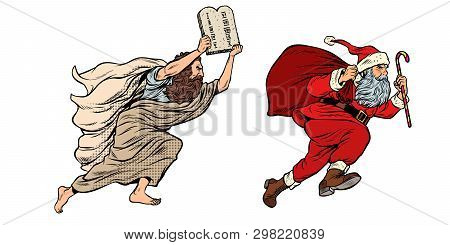 Moses And Santa Claus. Dispute Old And New. Tradition Versus Secular. Pop Art Retro Vector Illustrat