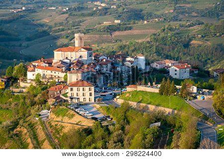 Small Village Šmartno On Sunrise Between The Vineyards In The Wine Region Brda In Slovenia Near Bord