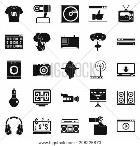 Telly Icons Set. Simple Set Of 25 Telly Icons For Web Isolated On White Background
