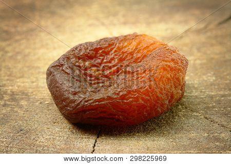 Single Sundried Apricot On Stump (studio Shoot Image)