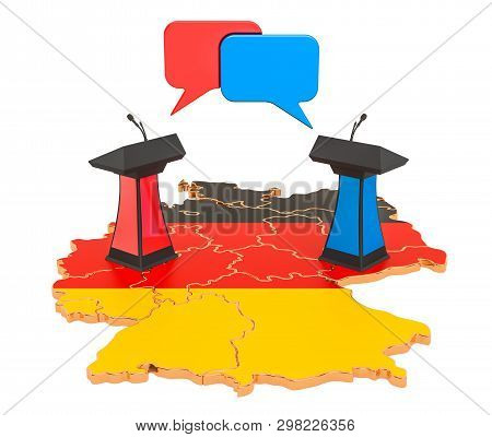 Deutsch Debate concept, 3D rendering isolated on white background poster