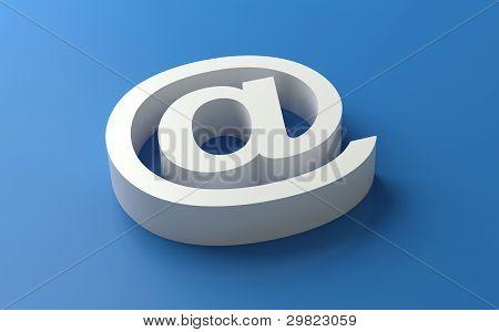 3d white e-mail symbol