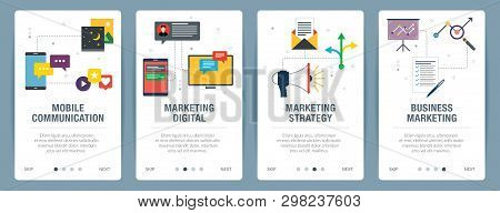 Banner Set With Icons For Internet On Websites Or App Templates With Mobile Communication, Marketing