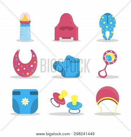 Cartoon Baby Clothes For Textile Design. Happy Childhood. Vector Cartoon. Print, Design Element. Set