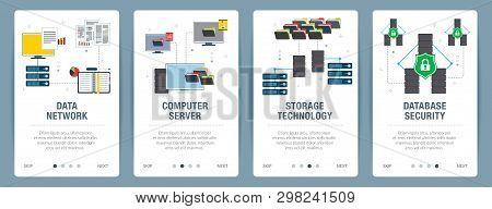 Vector Set Of Vertical Web Banners With Data Network, Computer Server, Storage Technology And Databa