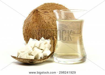 Fresh Cracked Coconut With Juice (studio Shoot Image)