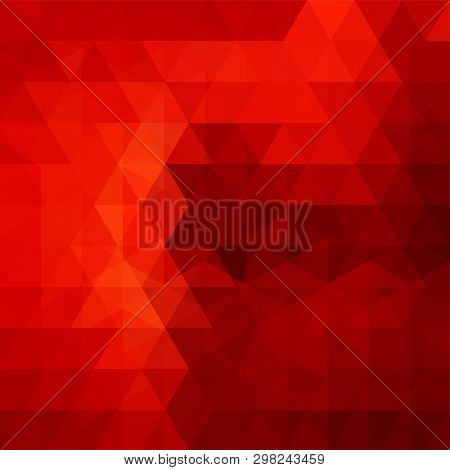 Abstract Red Mosaic Background. Triangle Geometric Background. Design Elements. Vector Illustration.