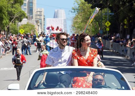 San Francisco, Ca - April 21, 2019: Co-grand Marshal Marie Digby Participating In The 52nd Annual Ch