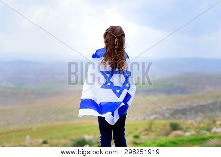 Little Patriot Jewish Girl Standing And Enjoying Great View On The Sky, Valley And Mountains With Th