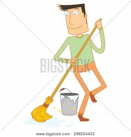 Illustration Of A Man Mopping Floor Happily