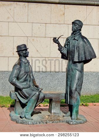 Moscow, Russia - 04/29/2019: Monument To Detective Sherlock Holmes And Dr. Watson In Moscow. Was Ins