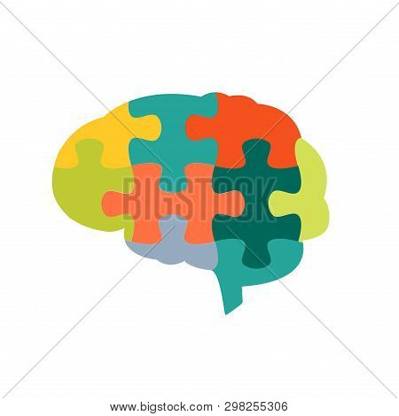 Human Brain In Jigsaw Puzzles Shape On White Background. For Cognitive Rehabilitation In Alzheimer D