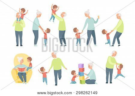 Grandpa And Grandma Playing, Walking And Having Fun With Their Grandson Set Vector Illustrations On