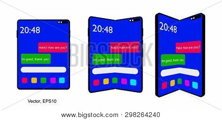 Smartphone Tablet With Foldable Screen. Fold Smart Phone. Vector Isolated On White Background, Eps 1