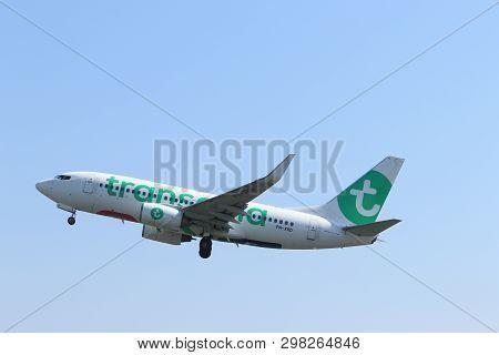 Amsterdam The Netherlands - April 22nd, 2019: Ph-xrd Transavia Boeing 737 Takeoff From Polderbaan Ru