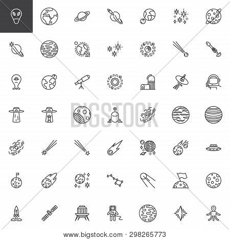 Space Line Icons Set. Linear Style Symbols Collection, Outline Signs Pack. Vector Graphics. Set Incl