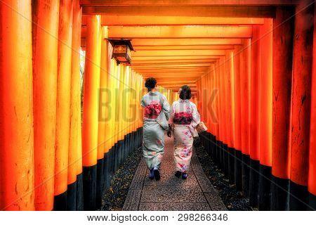 Kyoto, Japan Culture Travel - Asian Traveler Wearing Traditional Japanese Kimono Walking In Fushimi