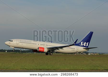 Amsterdam, The Netherlands  -  June 2nd, 2017: Ln-rge Sas Scandinavian Airlines Boeing 737 Taking Of