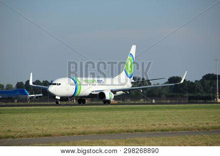 Amsterdam, The Netherlands  - August, 18th 2016: Ph-hsj Transavia Boeing 737-8k2, Taking Off From Po