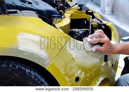 Garage Car Body Work Car Auto Car Repair Car Paint After The Accident During The Spraying Automotive