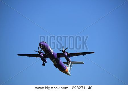 Amsterdam The Netherlands - May 3rd 2018: G-prpe Flybe De Havilland Canada Dhc-8-400 Takeoff From Po