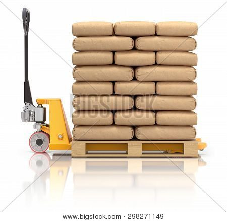 Cement Bags And Pallet Jack On White Reflective Background - 3d Illustration