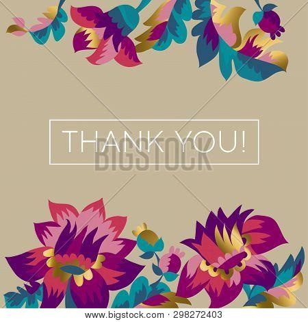 Thank You Vector Greeting Card, Postcard Concept. Gratitude Message In Decorative Floral Frame. Eleg