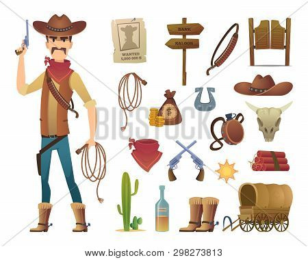 Wild West Cartoon. Saloon Cowboy Western Lasso Symbols Vector Pictures Isolated. Illustration Of Wil
