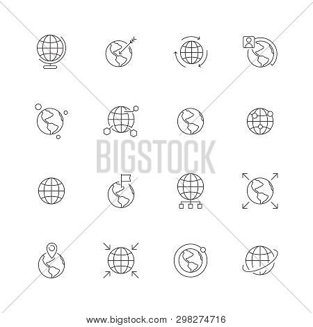 Globe Icon. World Wide Map Navigation Points Earth International Flags Country Path Vector Thin Line