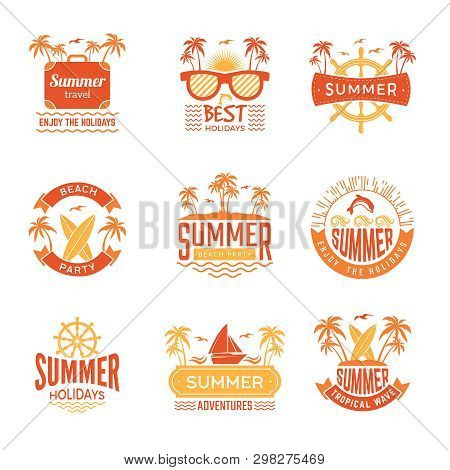 Summer Badges. Travel Labels And Logos Palm Tree Drinks Sun Vacation Tropical Vector Symbols. Illust