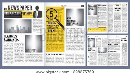 Newspaper Headline. Press Layout Template Of Newspaper Cover And Pages With Articles Vector Design.