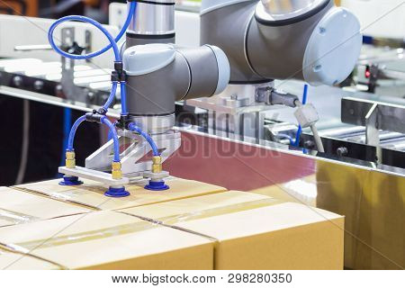 The Robot Arm Transfers Carton Box  To Conveyor Line ; Close Up