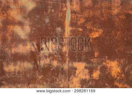 Rusty Textured Metal Surface. The Texture Of The Metal Sheet Is Prone To Oxidation And Corrosion.