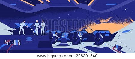 Starship, Starcraft, Interstellar Spacecraft Or Spaceship And Crew Members Standing And Sitting At C