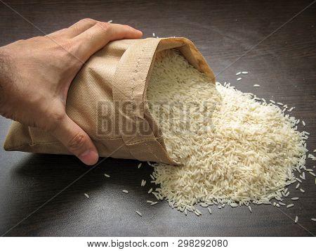 Raw Uncooked Hashemi Local Rice. Hashemi Rice Is Planted In Northern Of Iran, Gilan Province. Hashem
