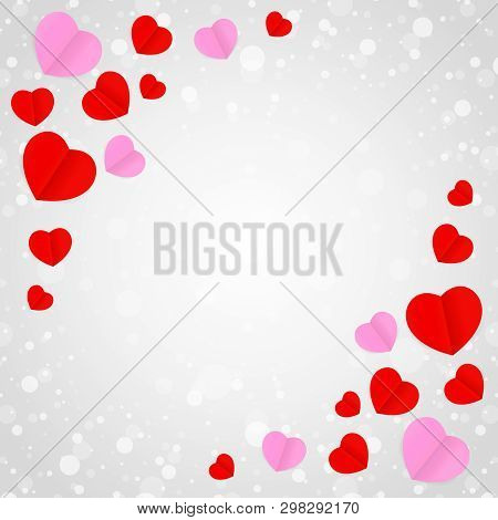 Square Grey Frame And Red Pink Heart Shape For Template Banner Valentines Card Grey Background, Many