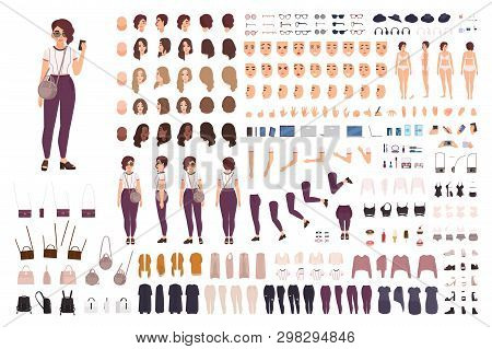 Stylish Girl Animation Kit Or Creation Set. Bundle Of Body Parts, Casual Clothes, Accessories. Trend