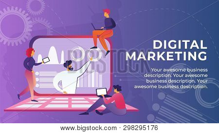 Flat Banner Is Written Digital Marketing Cartoon. Contextual Advertising On Internet. Promotion Any