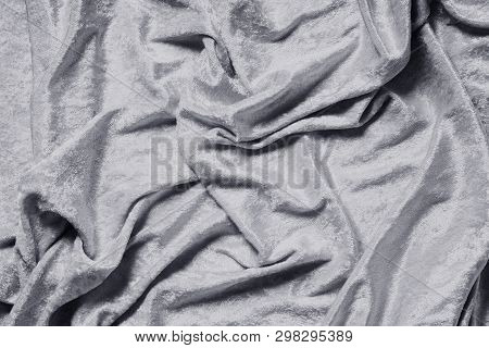 Gray Or Silver Colored Panne Velvet Drape Background Texture