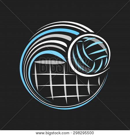 Vector Logo For Volleyball, Decorative Badge With Volleyball Ball Flying On Trajectory In Goal Above