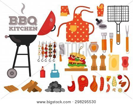 Barbecue Grill Cartoon Elements Set On White Background. Cookout Bbq Party Icons. Set Of Barbecue Ch